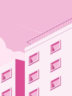 最小限のスタイルで建築を構築するイラスト。