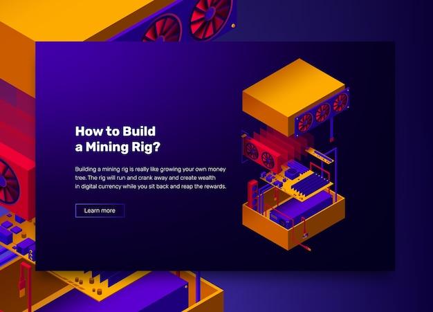 광산 농장 cryptocurrency bitcoins에 대한 조립 서버의 그림