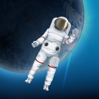 背景に惑星と宇宙空間に浮かぶ宇宙飛行士のイラスト