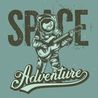 レタリングとギターと宇宙飛行士のイラスト