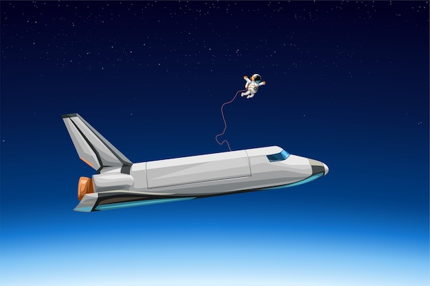 Иллюстрация космонавта с космическим шаттлом, летящим на орбите в космосе