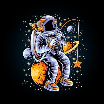 Иллюстрация космонавтов, ловящих рыбу на звезды