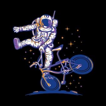 月で自転車を遊んでいる宇宙飛行士のイラスト