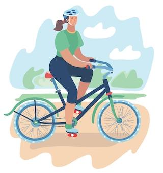 Иллюстрация спортивной девушки едет велосипед в шлеме вокруг городского парка. летний пейзаж