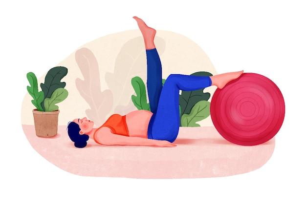 Иллюстрация привлекательной беременной женщины, тренирующейся на растяжке беременной женщины