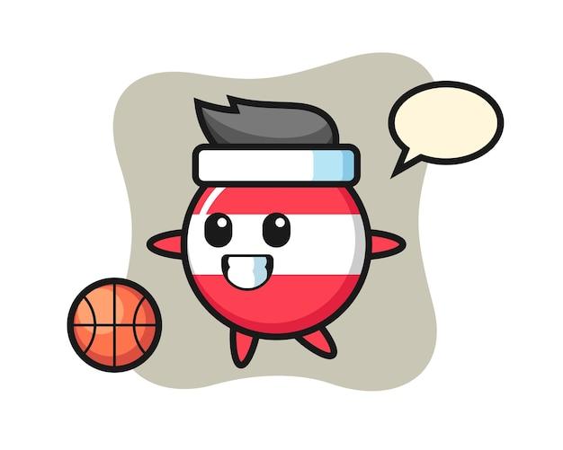 Иллюстрация мультяшного значка флага австрии играет в баскетбол