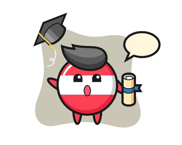 卒業時に帽子を投げるオーストリアの旗バッジ漫画のイラスト