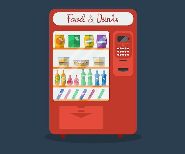 자동 판매기의 그림입니다. 물과 음료수 병, 스낵, 샌드 비치, 핫도그가있는 소매점 판매 장비