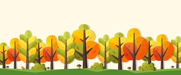 Иллюстрация осени в плоском стиле. баннер с деревьями, кустами и грибами с местом для текста