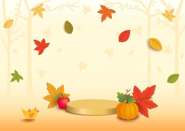 플랫폼이있는 가을 시즌의 그림