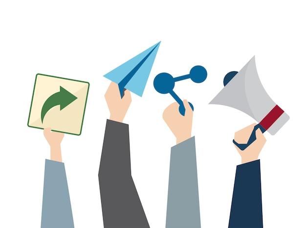아바타 소셜 네트워크 개념의 삽화