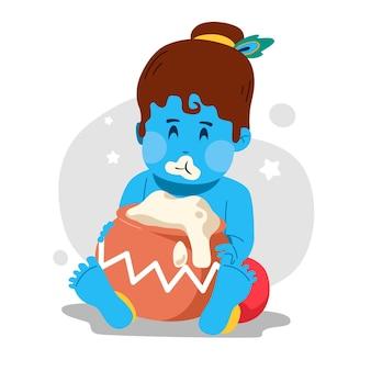 버터를 먹는 아기 크리슈나의 그림