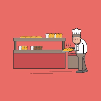 Illustration of bakery shop vector set