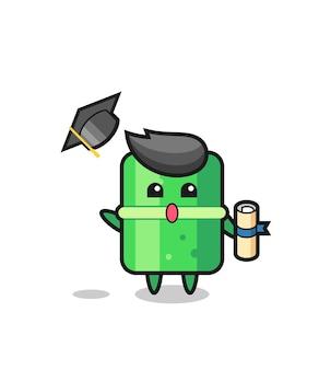 졸업식 때 모자를 던지는 대나무 만화 그림, 티셔츠, 스티커, 로고 요소를 위한 귀여운 스타일 디자인