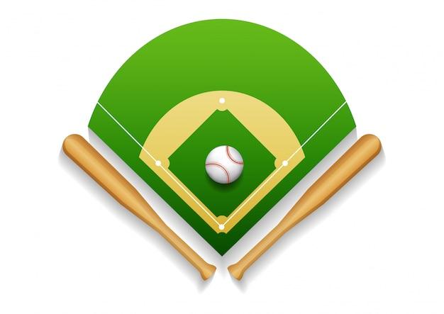가죽 공 및 나무 박쥐 야구 필드의 그림.