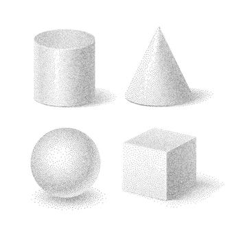 Иллюстрация набора основных форм куба, цилиндра, сферы и конуса с зернистой текстурой полутонов, геометрическими пунктирными телами на белом фоне