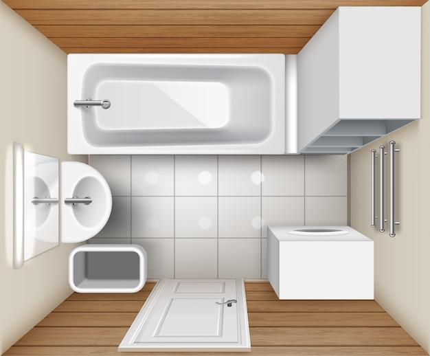 ベージュのバスルームインテリアのイラスト