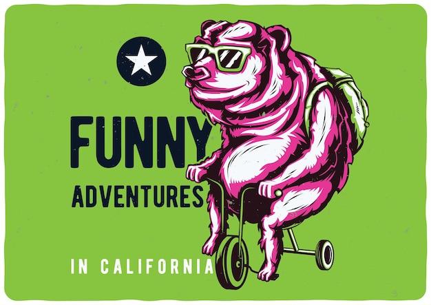 自転車のクマのイラスト。カリフォルニアの面白い冒険