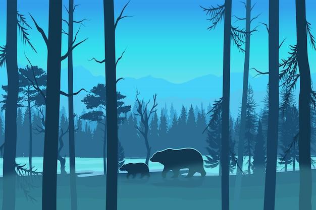 Иллюстрация медведей в лесу