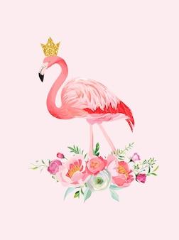 Иллюстрация красивого фламинго с местом для имени ребенка для печати плаката, приветствия ребенка, приглашения, флаера детского магазина, брошюры, обложки книги в векторе