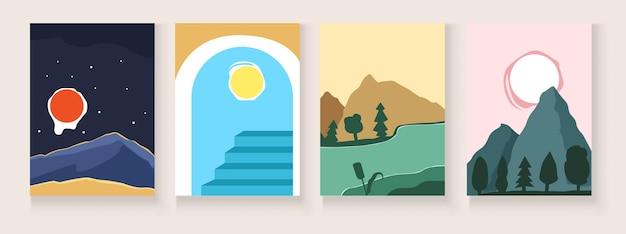Иллюстрация красивого пейзажа с видом на море