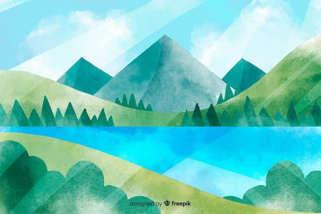 山々と美しい自然の風景のイラスト Premiumベクター