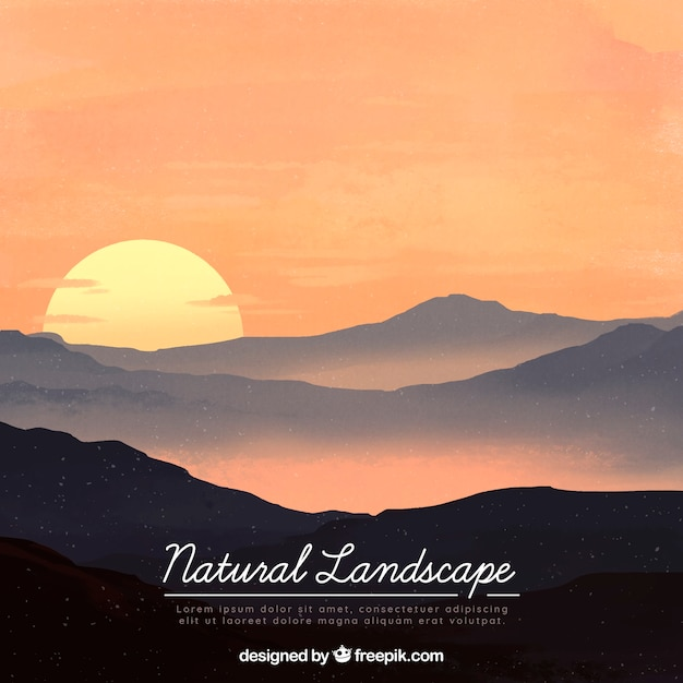 山々と美しい自然の風景のイラスト