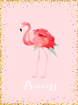 Иллюстрация красивого лебедя с золотой блеск короны для печати плакатов, поздравлений с младенцами, приглашения, флаера детского магазина, брошюры, обложки книги в векторе