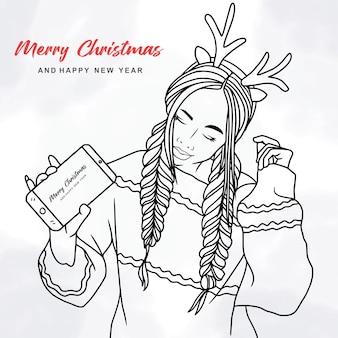Иллюстрация красивой женщины, использующей оголовье оленей и смартфон на рождественскую тему в линии ar