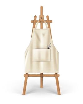Иллюстрация бежевого чистого фартука для художника, висящего на мольберте с кистями в кармане.