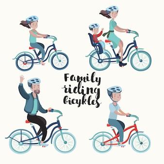 만화 스타일의 자전거 라이더 가족의 그림