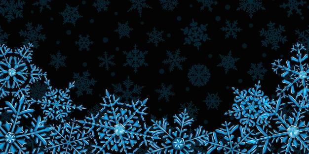 雪が降る背景に、下にある明るい青色と濃い青色の大きく複雑な半透明のクリスマスの雪片のイラスト。ベクトル形式のみの透明度