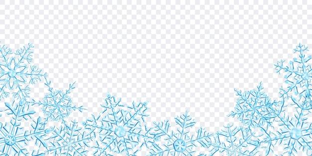透明な背景に分離された、水色の大きな複雑な半透明のクリスマスの雪片の下にあるイラスト。ベクトル形式のみの透明度