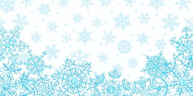 雪が降る背景に、水色の大きくて複雑な半透明のクリスマスの雪片のイラスト。ベクトル形式のみの透明度