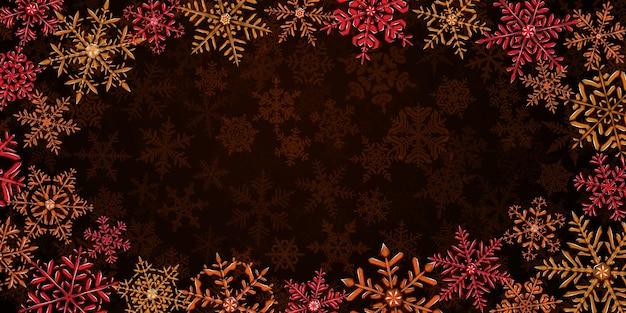 雪が降る背景に、赤とオレンジ色の大きくて複雑な半透明のクリスマスの雪片のイラスト。ベクトル形式のみの透明度