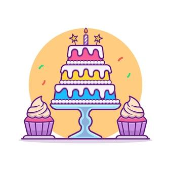 バースデーケーキとカップケーキのイラスト。お誕生日おめでとうパーティーのコンセプト。フラット漫画スタイル