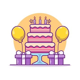 風船と箱でバースデーケーキのイラスト。誕生日パーティーのコンセプト。フラット漫画スタイル