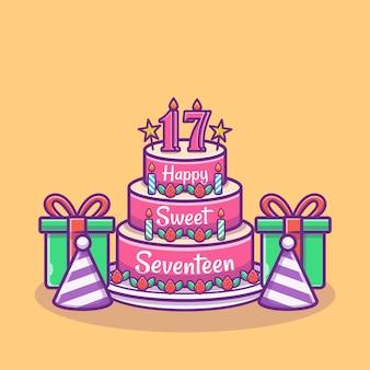 Иллюстрация именинного торта с воздушными шарами и коробкой. концепция вечеринки по случаю дня рождения. плоский мультяшный стиль