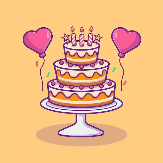 風船とバースデーケーキのイラスト。お誕生日おめでとうパーティーのコンセプト。フラット漫画スタイル
