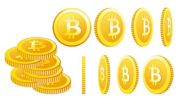 Иллюстрация биткойн иконок, изолированных на белом фоне в разных позициях. простой символ криптовалюты в плоском мультяшном стиле.