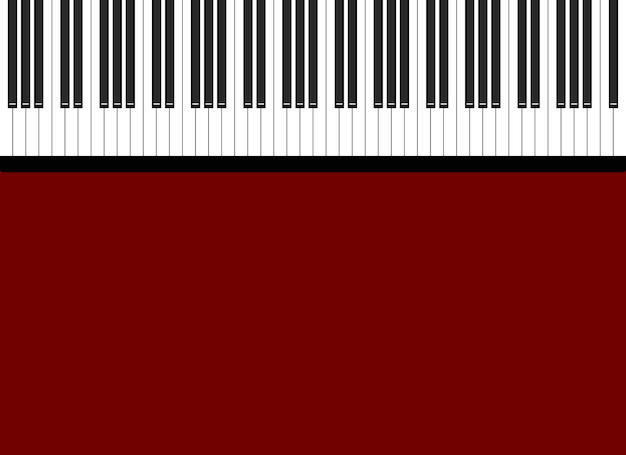 밝은 빨간색 배경에 흑백 피아노 키의 그림