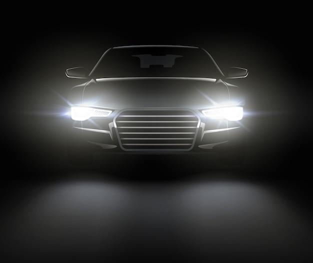 ライトと黒い車のイラスト