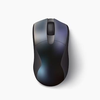 Иллюстрация блестящей современной компьютерной мыши черного цвета над видом с реалистичной тенью на белом фоне