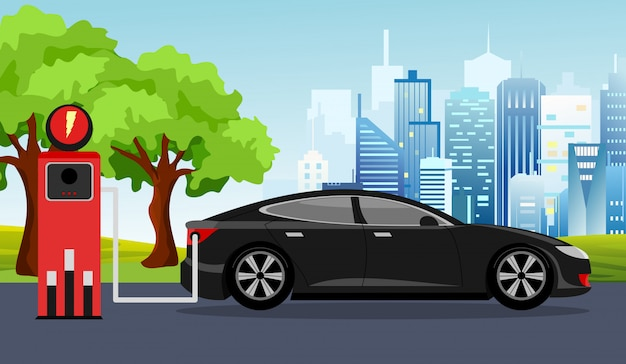Иллюстрация черный электромобиль и зарядная станция зеленое дерево, солнце, фон голубого неба. концепция инфографики электрический автомобиль.