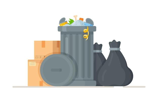 쓰레기통 근처에 서 검은 쓰레기 봉투의 그림. 쓰레기의 개념. 쓰레기, 가방 및 쓰레기로 가득 찬 가방. 고립 된 쓰레기 봉투 더미