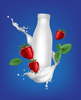 딸기 풍미와 요구르트에 대 한 빈 플라스틱 병 흰색 컨테이너의 그림