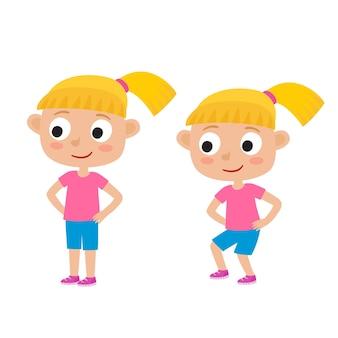 운동에 금발 소녀의 그림은 흰색, 스쿼트, 발 어깨 너비 떨어져, 엉덩이에 손을 격리합니다.