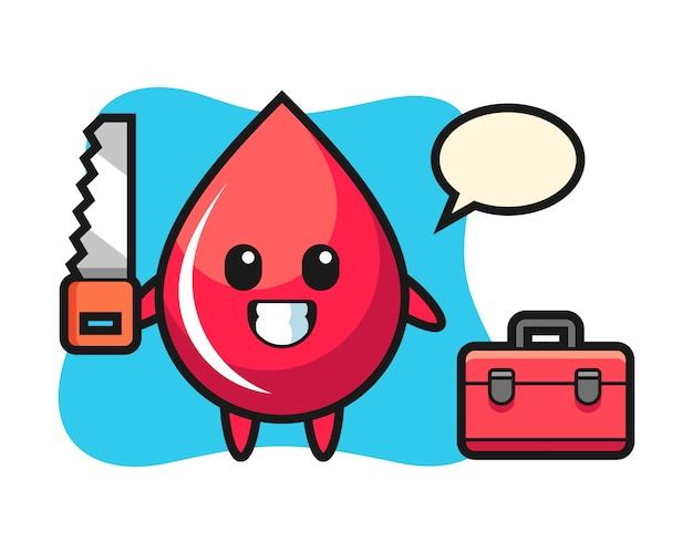 Иллюстрация персонажа капли крови как плотника, милый стиль, наклейка, элемент логотипа