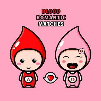 Иллюстрация кровавых романтических матчей в милых персонажах