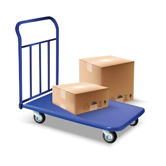 それの上にボックスを持つ青い手荷物または貨物トロリーのイラスト。白で隔離